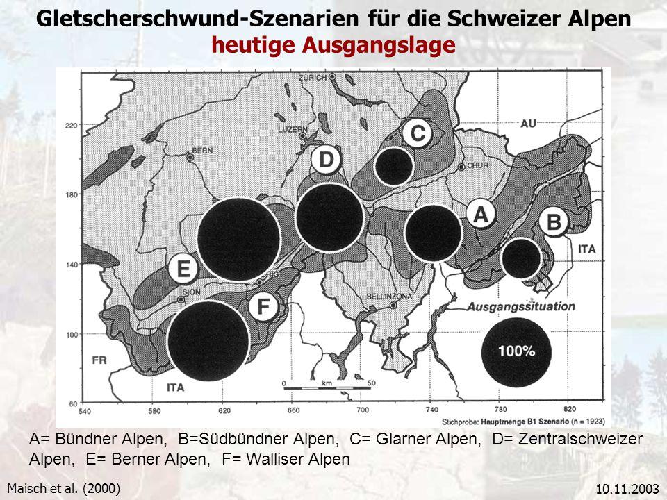 10.11.2003 Gletscherschwund-Szenarien für die Schweizer Alpen heutige Ausgangslage A= Bündner Alpen, B=Südbündner Alpen, C= Glarner Alpen, D= Zentrals