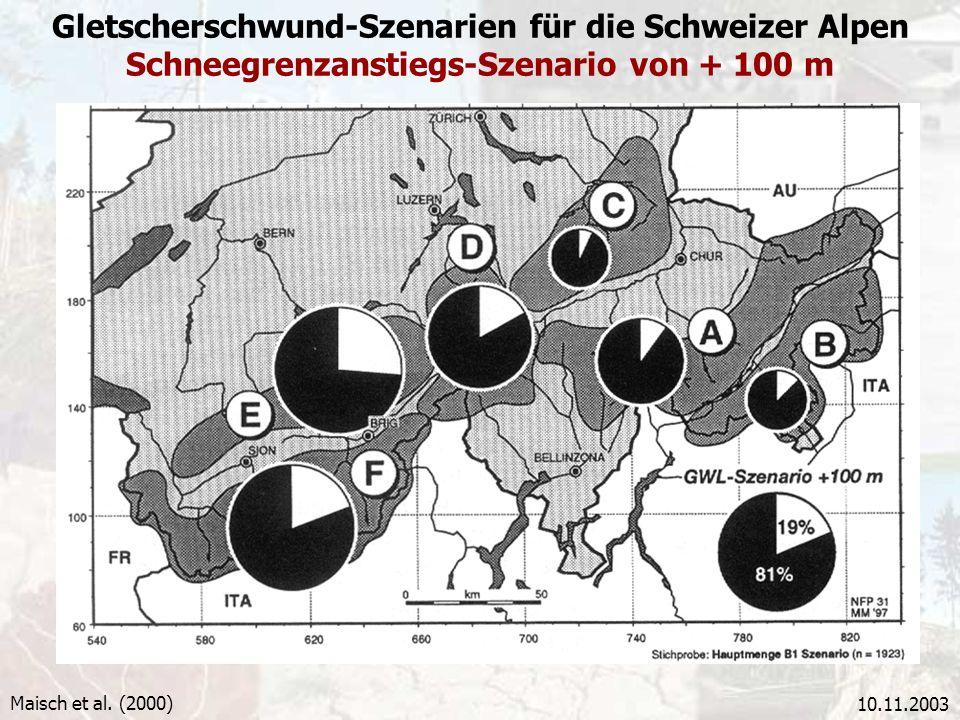 10.11.2003 Gletscherschwund-Szenarien für die Schweizer Alpen Schneegrenzanstiegs-Szenario von + 100 m Maisch et al. (2000)