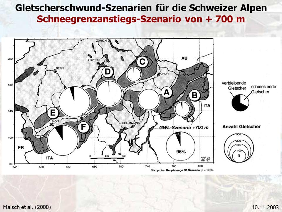 10.11.2003 Gletscherschwund-Szenarien für die Schweizer Alpen Schneegrenzanstiegs-Szenario von + 700 m Maisch et al. (2000)