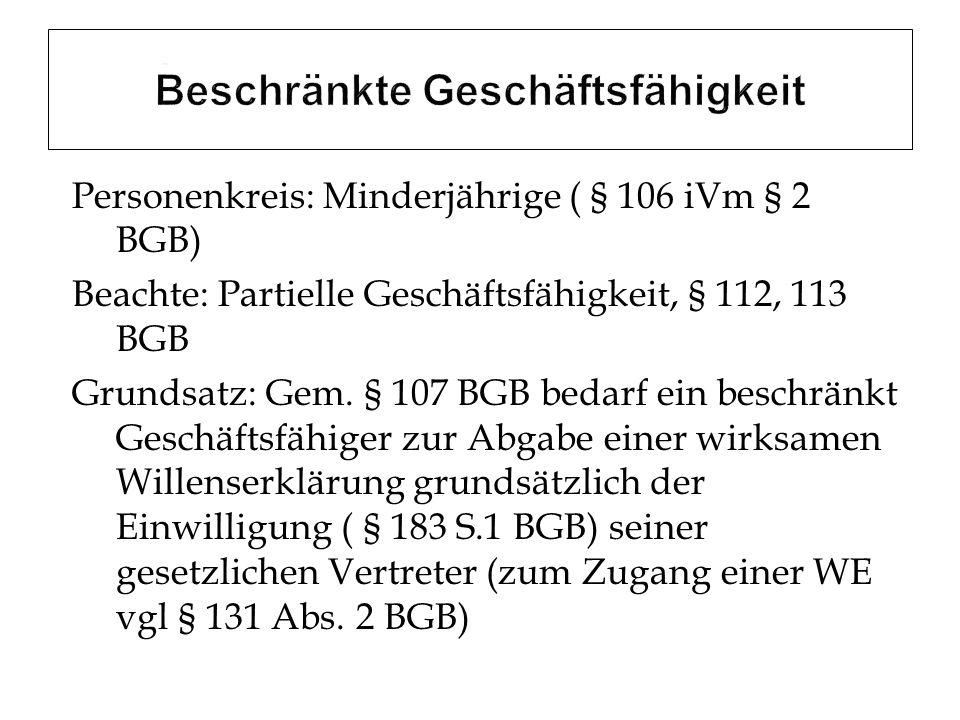 Personenkreis: Minderjährige ( § 106 iVm § 2 BGB) Beachte: Partielle Geschäftsfähigkeit, § 112, 113 BGB Grundsatz: Gem. § 107 BGB bedarf ein beschränk