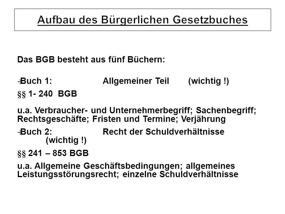 Das BGB besteht aus fünf Büchern: Buch 1:Allgemeiner Teil(wichtig !) §§ 1- 240 BGB u.a.