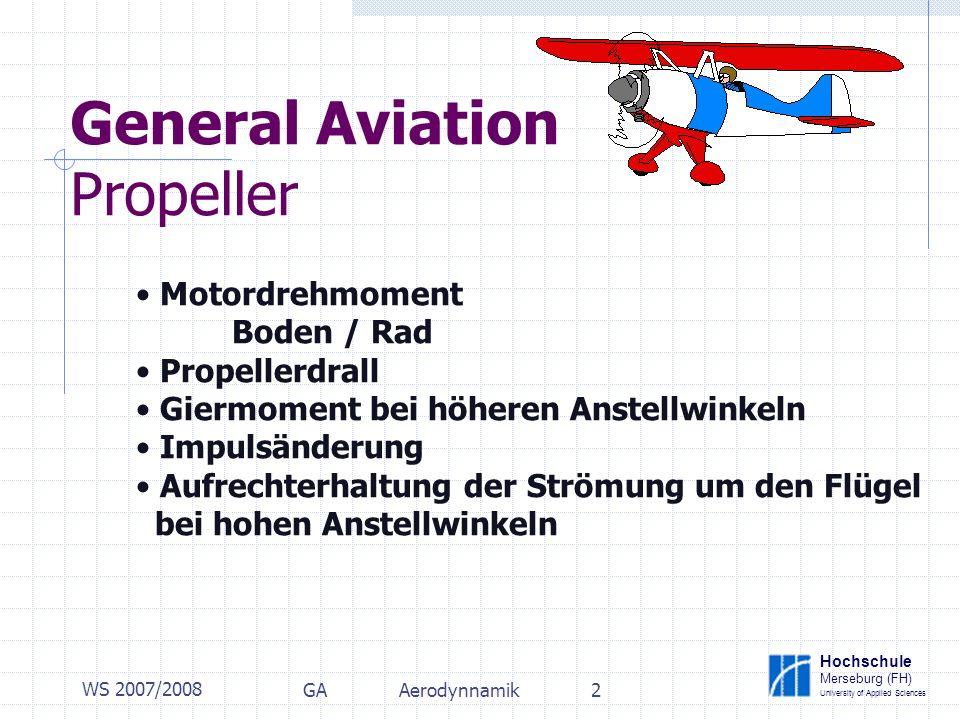 Hochschule Merseburg (FH) University of Applied Sciences WS 2007/2008 GAAerodynnamik3 General Aviation Propeller Motordrehmoment Boden / Rad FGFG F2F2 F1F1 M b