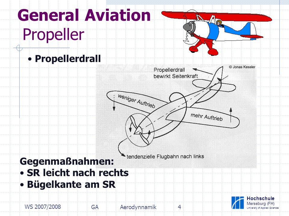 Hochschule Merseburg (FH) University of Applied Sciences WS 2007/2008 GAAerodynnamik4 General Aviation Propeller Propellerdrall Gegenmaßnahmen: SR leicht nach rechts Bügelkante am SR