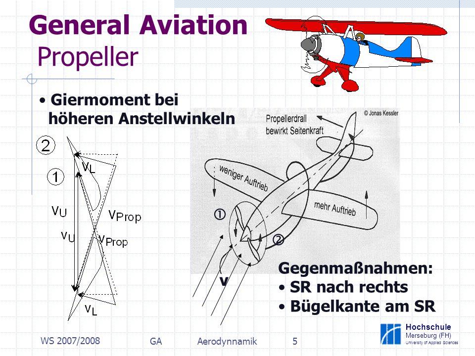 Hochschule Merseburg (FH) University of Applied Sciences WS 2007/2008 GAAerodynnamik5 General Aviation Propeller Giermoment bei höheren Anstellwinkeln v Gegenmaßnahmen: SR nach rechts Bügelkante am SR