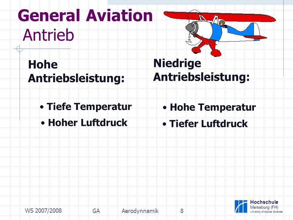 Hochschule Merseburg (FH) University of Applied Sciences WS 2007/2008 GAAerodynnamik8 General Aviation Antrieb Hohe Antriebsleistung: Niedrige Antriebsleistung: Tiefe Temperatur Hoher Luftdruck Hohe Temperatur Tiefer Luftdruck