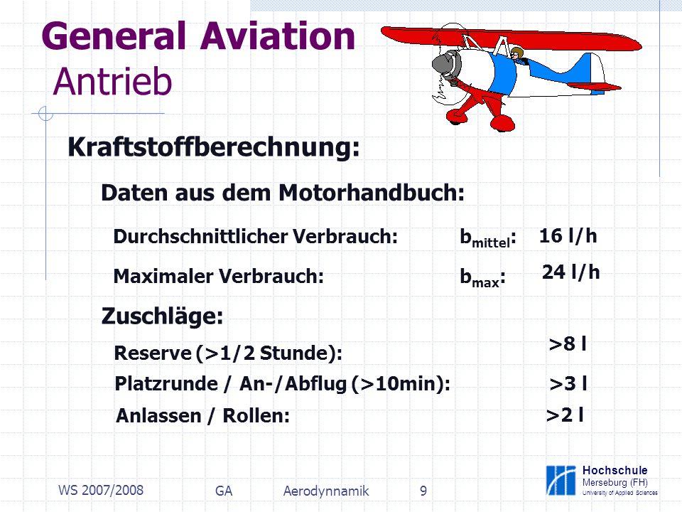 Hochschule Merseburg (FH) University of Applied Sciences WS 2007/2008 GAAerodynnamik9 General Aviation Antrieb Kraftstoffberechnung: Daten aus dem Motorhandbuch: Durchschnittlicher Verbrauch: b mittel : Maximaler Verbrauch: b max : Zuschläge: Reserve (>1/2 Stunde): Platzrunde / An-/Abflug (>10min): Anlassen / Rollen: 16 l/h 24 l/h >8 l >3 l >2 l