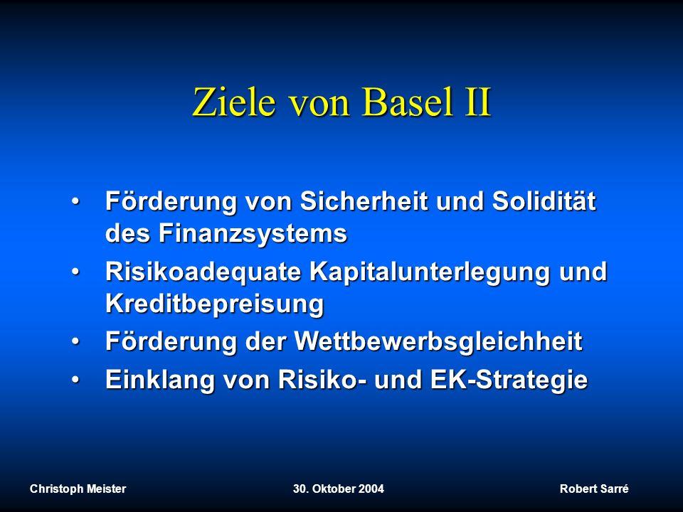 Christoph Meister 30. Oktober 2004 Robert Sarré Ziele von Basel II Förderung von Sicherheit und Solidität des FinanzsystemsFörderung von Sicherheit un