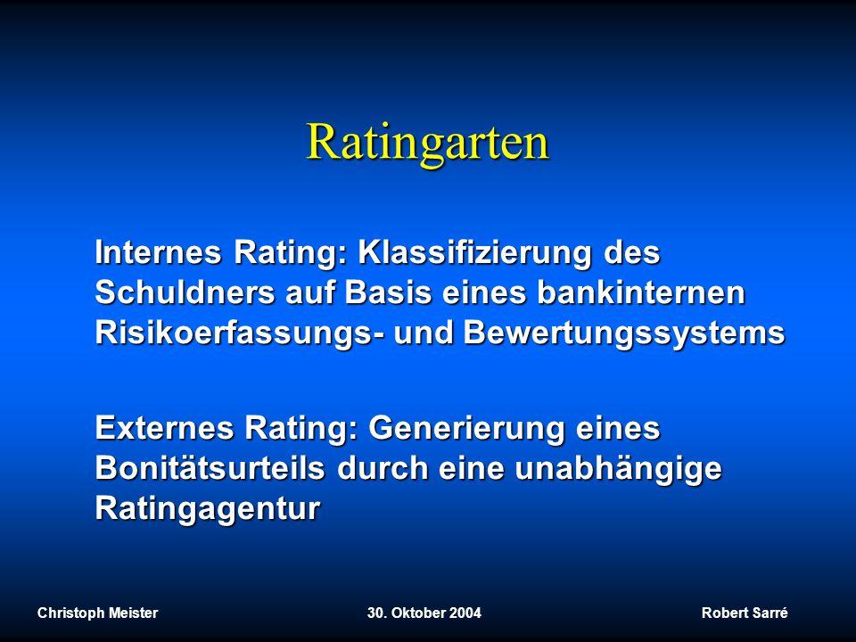 Christoph Meister 30. Oktober 2004 Robert Sarré Ratingarten Internes Rating: Klassifizierung des Schuldners auf Basis eines bankinternen Risikoerfassu