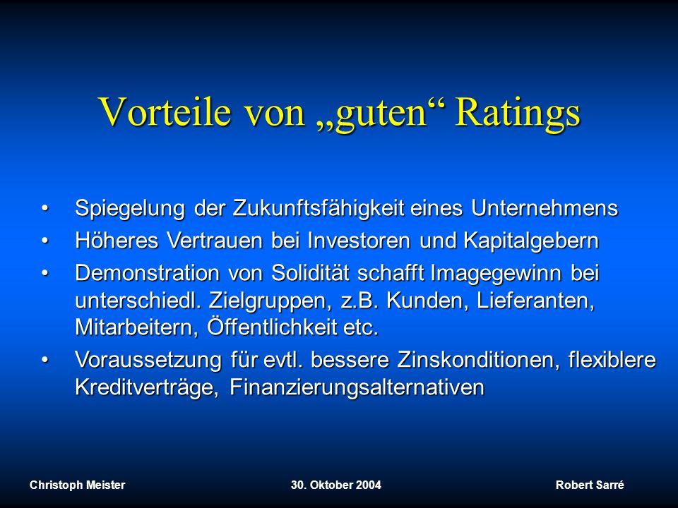 Christoph Meister 30. Oktober 2004 Robert Sarré Vorteile von guten Ratings Spiegelung der Zukunftsfähigkeit eines UnternehmensSpiegelung der Zukunftsf