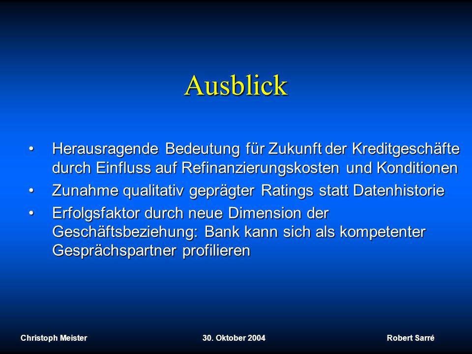 Christoph Meister 30. Oktober 2004 Robert Sarré Ausblick Herausragende Bedeutung für Zukunft der Kreditgeschäfte durch Einfluss auf Refinanzierungskos