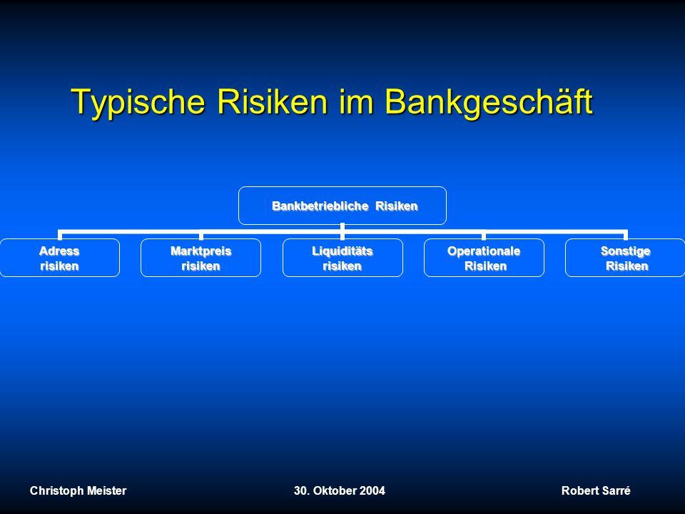Typische Risiken im Bankgeschäft Christoph Meister 30. Oktober 2004 Robert Sarré Bankbetriebliche Risiken AdressrisikenMarktpreisrisikenLiquiditätsris