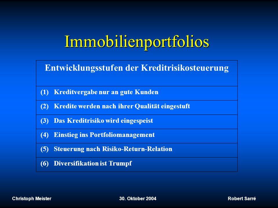 Christoph Meister 30. Oktober 2004 Robert Sarré Immobilienportfolios Entwicklungsstufen der Kreditrisikosteuerung (1) Kreditvergabe nur an gute Kunden