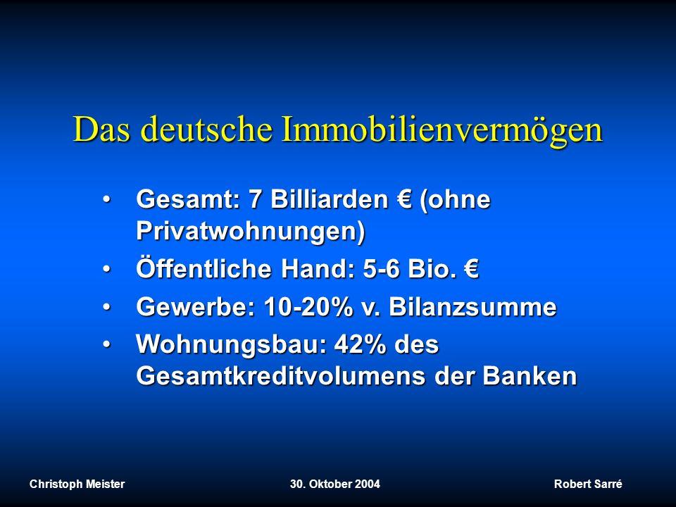 Christoph Meister 30. Oktober 2004 Robert Sarré Das deutsche Immobilienvermögen Gesamt: 7 Billiarden (ohne Privatwohnungen)Gesamt: 7 Billiarden (ohne