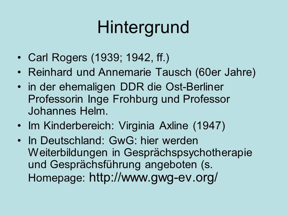 Hintergrund Carl Rogers (1939; 1942, ff.) Reinhard und Annemarie Tausch (60er Jahre) in der ehemaligen DDR die Ost-Berliner Professorin Inge Frohburg