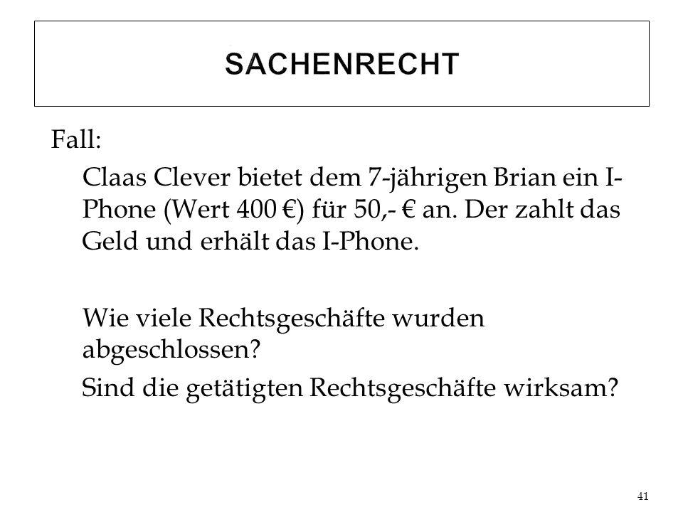 Fall: Claas Clever bietet dem 7-jährigen Brian ein I- Phone (Wert 400 ) für 50,- an.