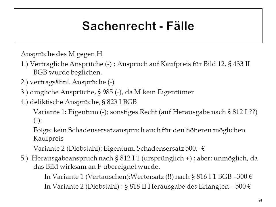 Ansprüche des M gegen H 1.) Vertragliche Ansprüche (-) ; Anspruch auf Kaufpreis für Bild 12, § 433 II BGB wurde beglichen.