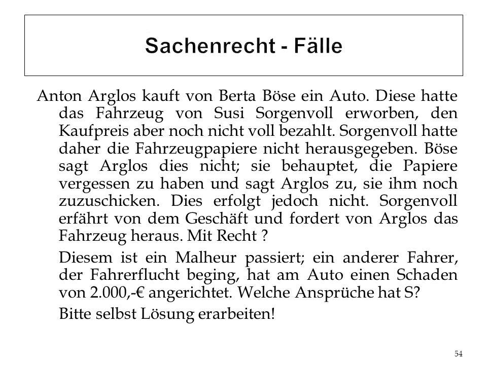 Anton Arglos kauft von Berta Böse ein Auto.