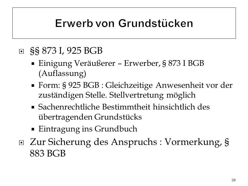 §§ 873 I, 925 BGB Einigung Veräußerer – Erwerber, § 873 I BGB (Auflassung) Form: § 925 BGB : Gleichzeitige Anwesenheit vor der zuständigen Stelle.