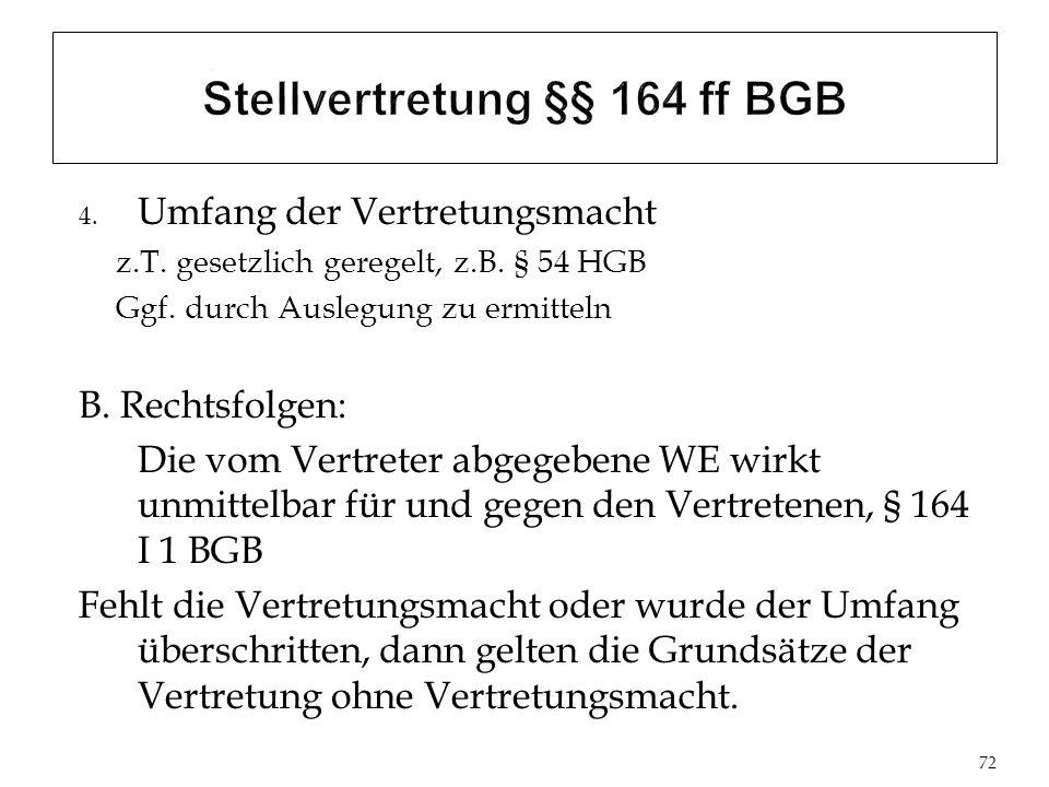 4.Umfang der Vertretungsmacht z.T. gesetzlich geregelt, z.B.