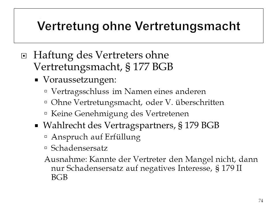 Haftung des Vertreters ohne Vertretungsmacht, § 177 BGB Voraussetzungen: Vertragsschluss im Namen eines anderen Ohne Vertretungsmacht, oder V.