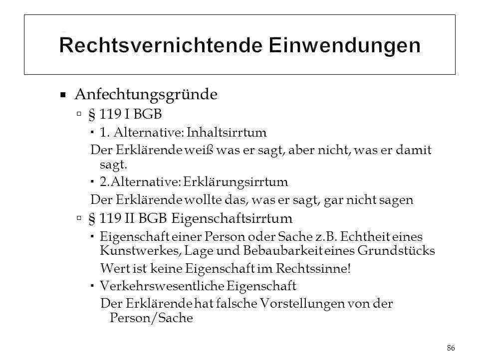Anfechtungsgründe § 119 I BGB 1.