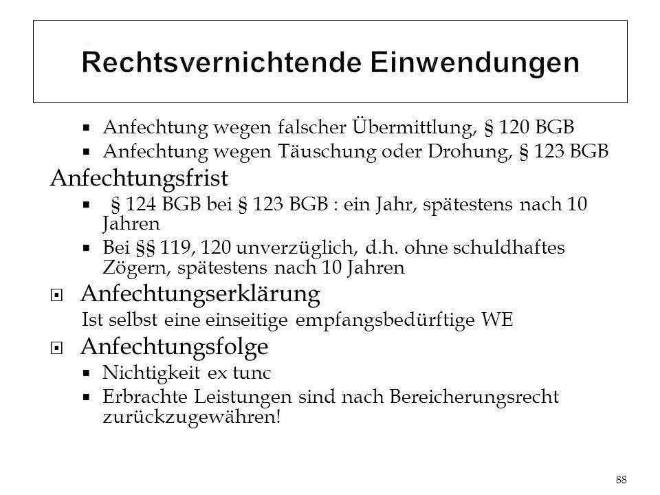 Anfechtung wegen falscher Übermittlung, § 120 BGB Anfechtung wegen Täuschung oder Drohung, § 123 BGB Anfechtungsfrist § 124 BGB bei § 123 BGB : ein Jahr, spätestens nach 10 Jahren Bei §§ 119, 120 unverzüglich, d.h.