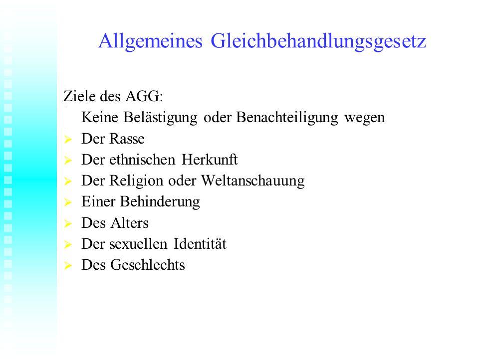 Allgemeines Gleichbehandlungsgesetz Ziele des AGG: Keine Belästigung oder Benachteiligung wegen Der Rasse Der Rasse Der ethnischen Herkunft Der ethnis