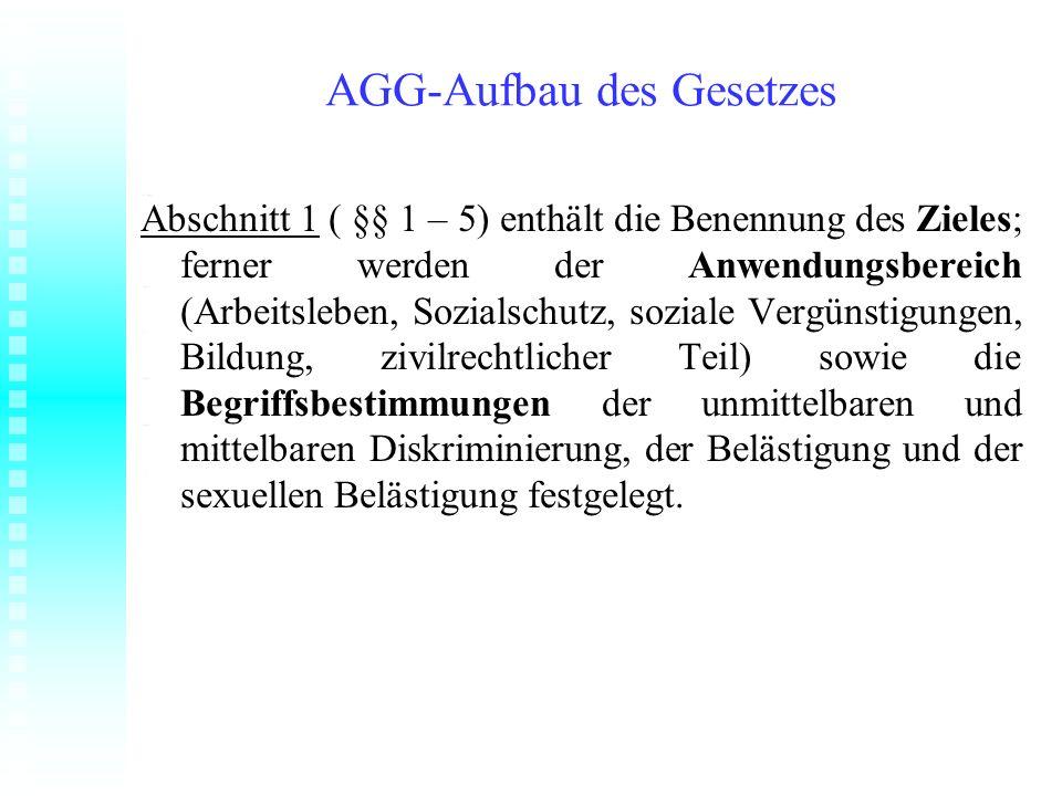AGG-Aufbau des Gesetzes Abschnitt 1 ( §§ 1 – 5) enthält die Benennung des Zieles; ferner werden der Anwendungsbereich (Arbeitsleben, Sozialschutz, soz