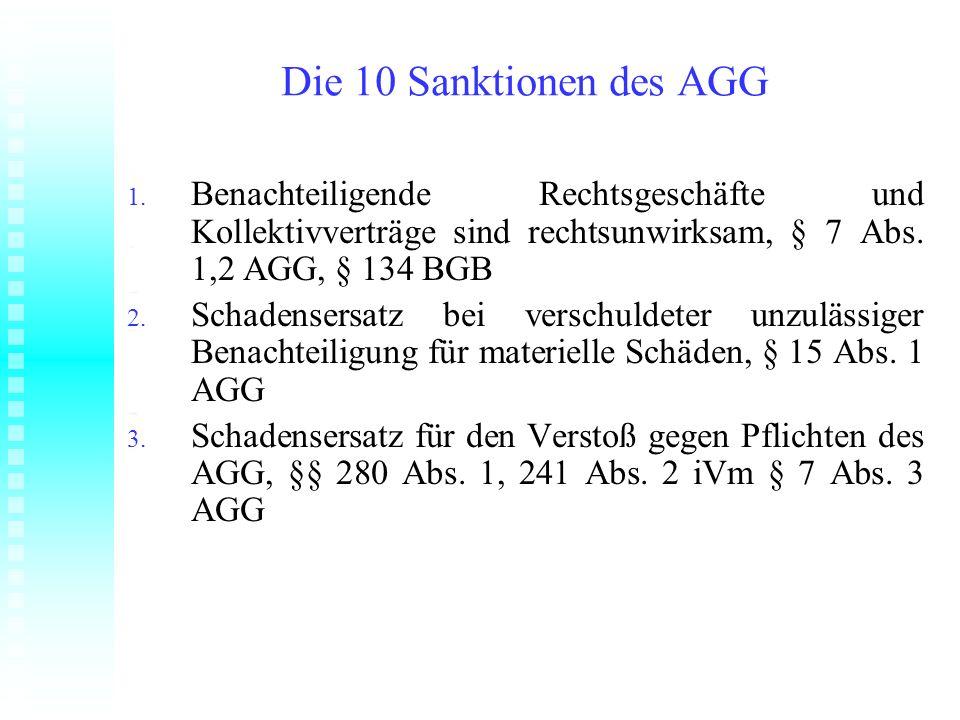 Die 10 Sanktionen des AGG 1. Benachteiligende Rechtsgeschäfte und Kollektivverträge sind rechtsunwirksam, § 7 Abs. 1,2 AGG, § 134 BGB 2. Schadensersat