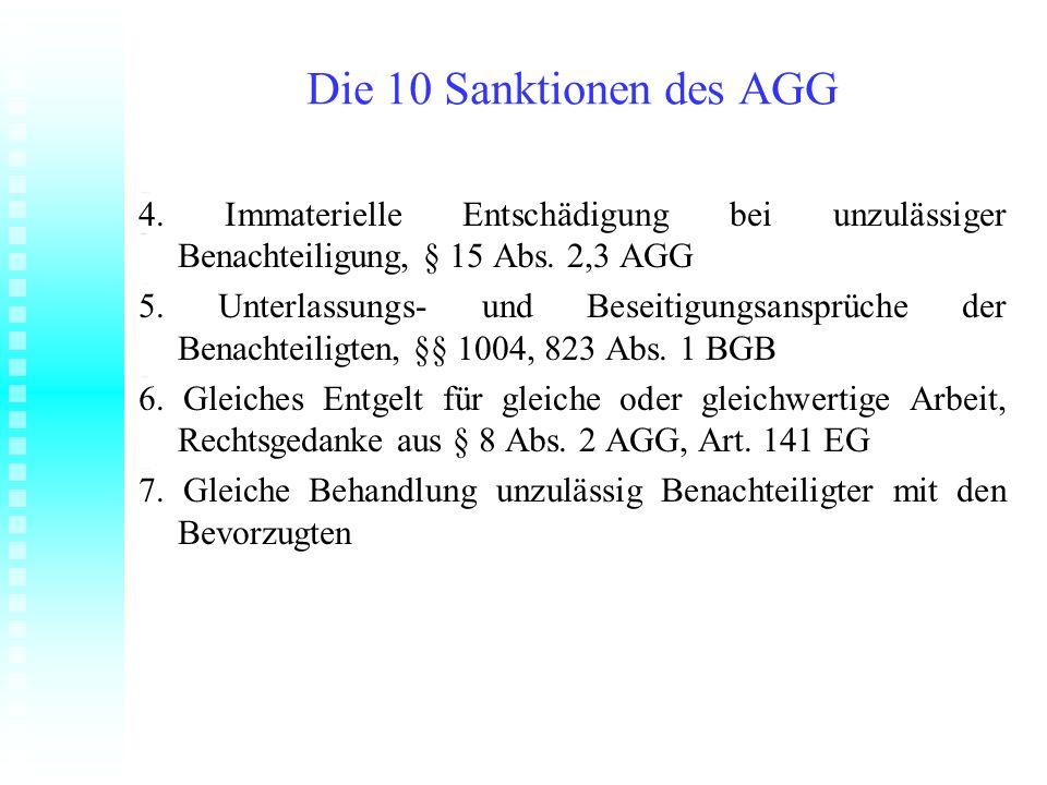 Die 10 Sanktionen des AGG 4. Immaterielle Entschädigung bei unzulässiger Benachteiligung, § 15 Abs. 2,3 AGG 5. Unterlassungs- und Beseitigungsansprüch