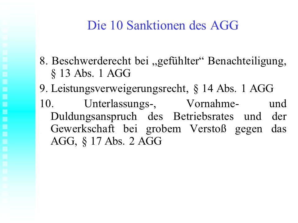 Die 10 Sanktionen des AGG 8. Beschwerderecht bei gefühlter Benachteiligung, § 13 Abs. 1 AGG 9. Leistungsverweigerungsrecht, § 14 Abs. 1 AGG 10. Unterl