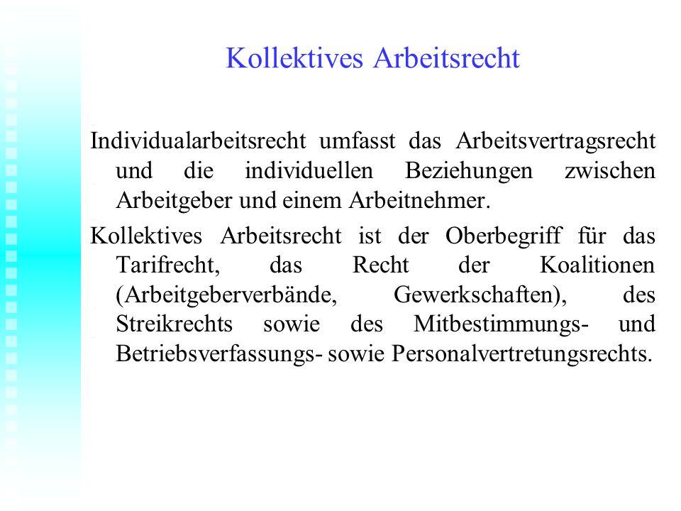 Kollektives Arbeitsrecht Individualarbeitsrecht umfasst das Arbeitsvertragsrecht und die individuellen Beziehungen zwischen Arbeitgeber und einem Arbe