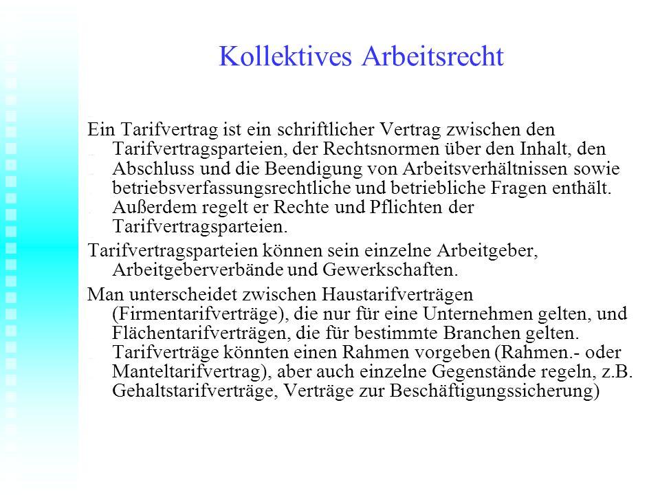 Kollektives Arbeitsrecht Ein Tarifvertrag ist ein schriftlicher Vertrag zwischen den Tarifvertragsparteien, der Rechtsnormen über den Inhalt, den Absc