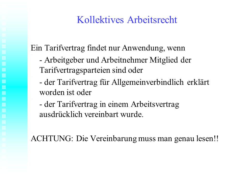 Kollektives Arbeitsrecht Variante 1: Es gelten die Tarifverträge für den Einzelhandel in Sachsen-Anhalt vom 15.07.2007.