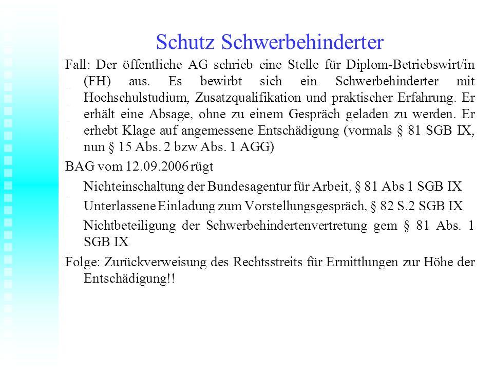 Schutz Schwerbehinderter Fall: Der öffentliche AG schrieb eine Stelle für Diplom-Betriebswirt/in (FH) aus. Es bewirbt sich ein Schwerbehinderter mit H