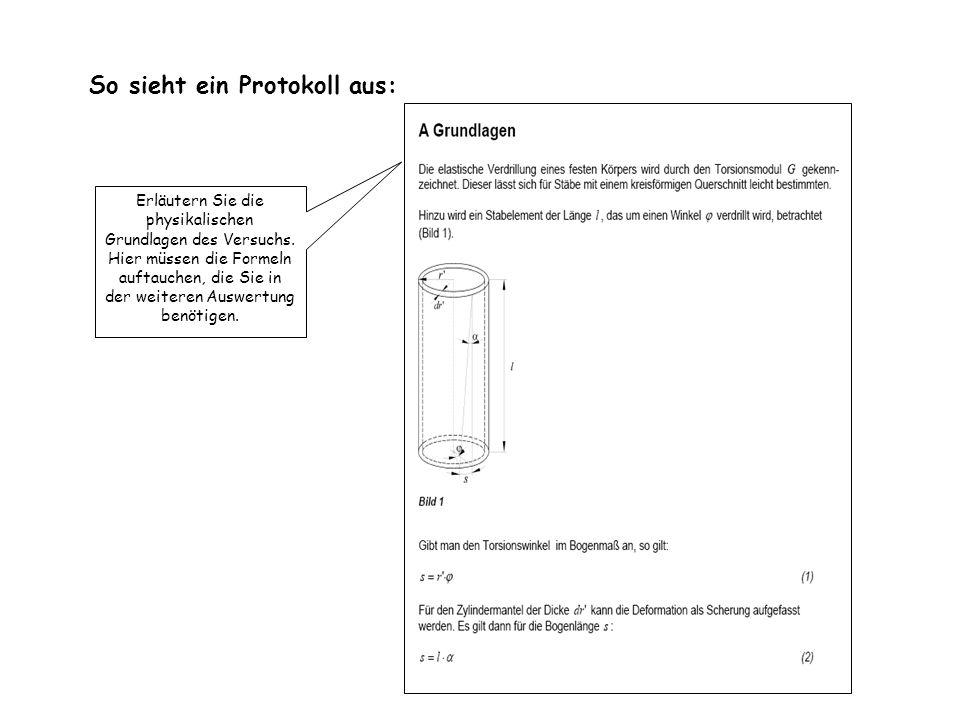 So sieht ein Protokoll aus: Erläutern Sie die physikalischen Grundlagen des Versuchs. Hier müssen die Formeln auftauchen, die Sie in der weiteren Ausw