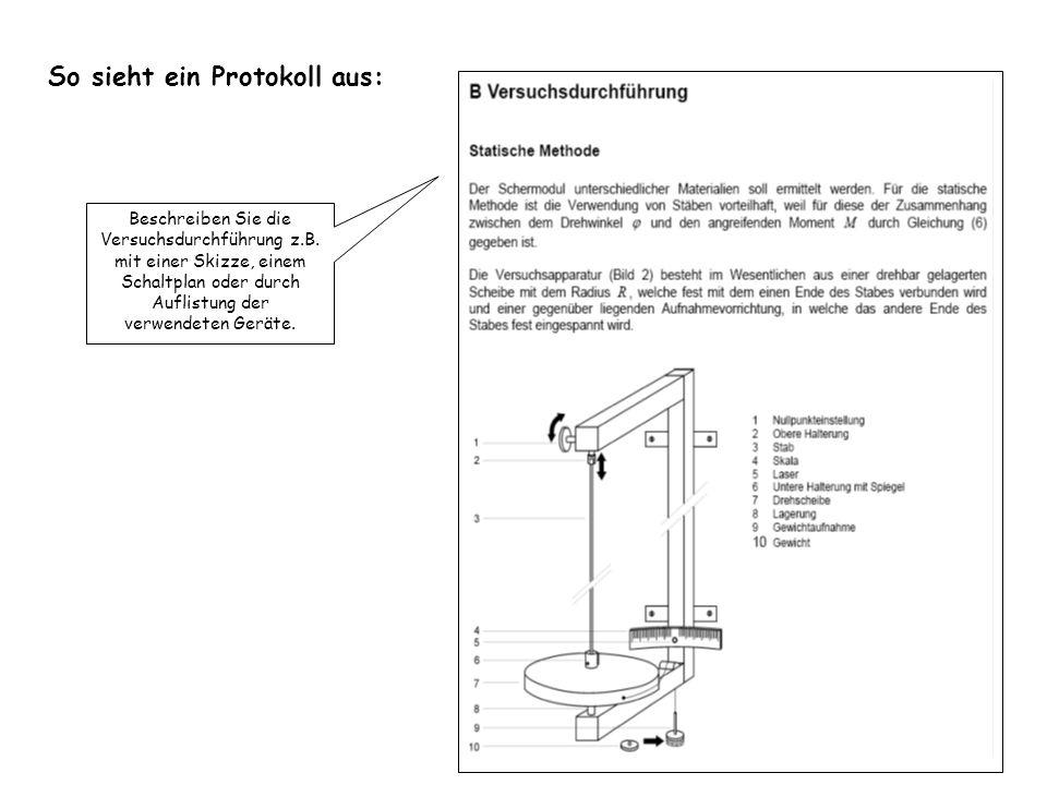 So sieht ein Protokoll aus: Beschreiben Sie die Versuchsdurchführung z.B. mit einer Skizze, einem Schaltplan oder durch Auflistung der verwendeten Ger