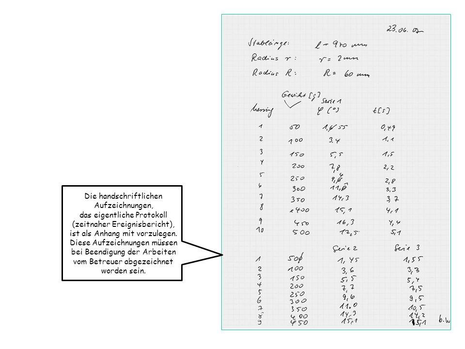 Die handschriftlichen Aufzeichnungen, das eigentliche Protokoll (zeitnaher Ereignisbericht), ist als Anhang mit vorzulegen. Diese Aufzeichnungen müsse
