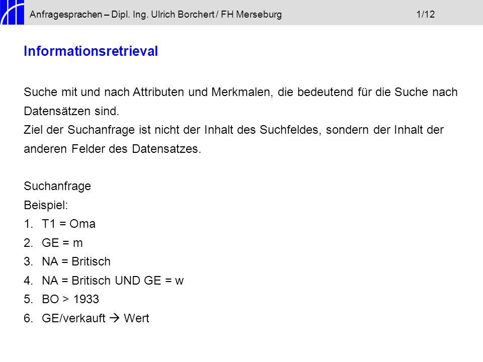 Anfragesprachen – Dipl. Ing. Ulrich Borchert / FH Merseburg1/12 Informationsretrieval Suche mit und nach Attributen und Merkmalen, die bedeutend für d