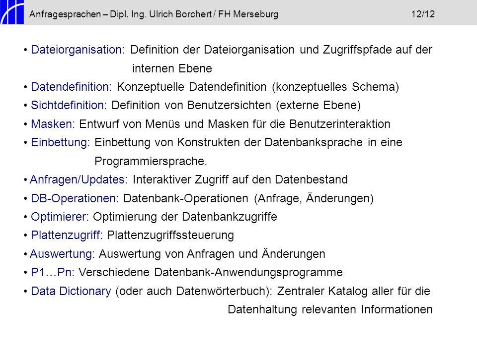 Anfragesprachen – Dipl. Ing. Ulrich Borchert / FH Merseburg12/12 Dateiorganisation: Definition der Dateiorganisation und Zugriffspfade auf der interne