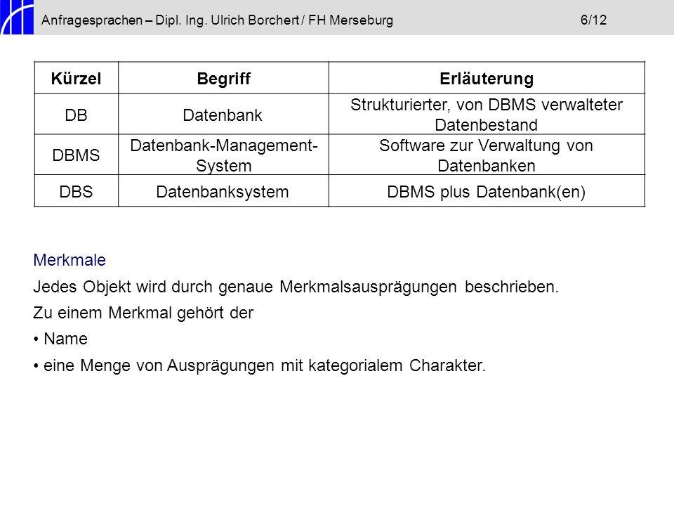 Anfragesprachen – Dipl. Ing. Ulrich Borchert / FH Merseburg6/12 KürzelBegriffErläuterung DBDatenbank Strukturierter, von DBMS verwalteter Datenbestand
