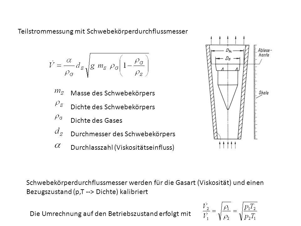Teilstrommessung mit Schwebekörperdurchflussmesser Masse des Schwebekörpers Dichte des Schwebekörpers Dichte des Gases Durchmesser des Schwebekörpers