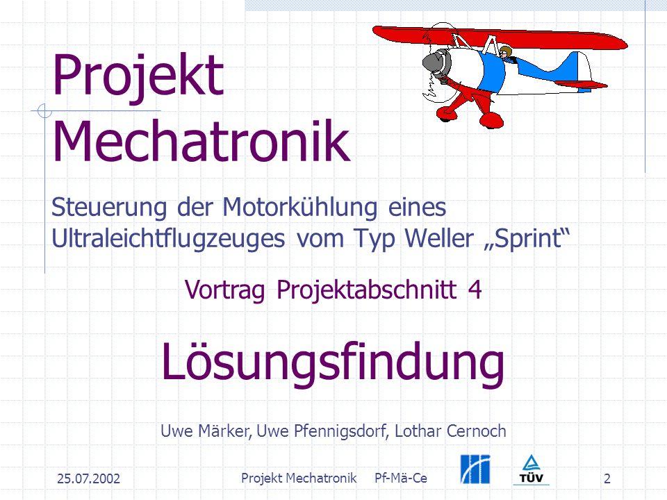 25.07.2002 Projekt MechatronikPf-Mä-Ce 2 Projekt Mechatronik Steuerung der Motorkühlung eines Ultraleichtflugzeuges vom Typ Weller Sprint Vortrag Projektabschnitt 4 Lösungsfindung Uwe Märker, Uwe Pfennigsdorf, Lothar Cernoch
