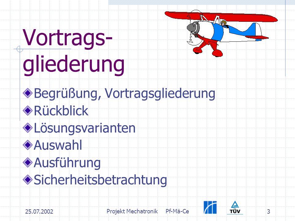 25.07.2002 Projekt MechatronikPf-Mä-Ce 3 Vortrags- gliederung Begrüßung, Vortragsgliederung Rückblick Lösungsvarianten Auswahl Ausführung Sicherheitsbetrachtung