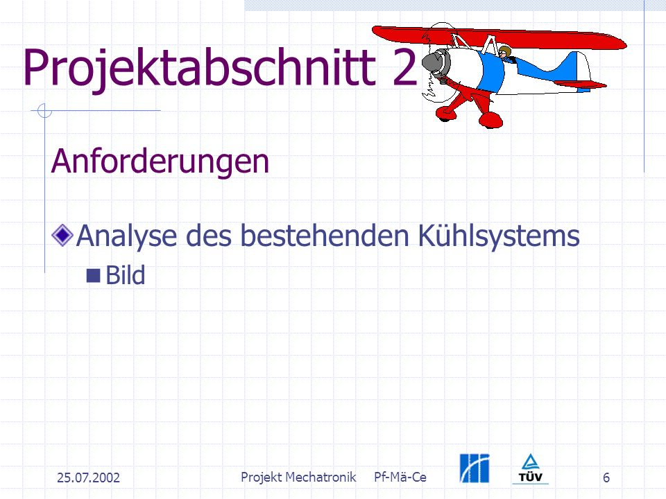 25.07.2002 Projekt MechatronikPf-Mä-Ce 6 Projektabschnitt 2 Analyse des bestehenden Kühlsystems Bild Anforderungen