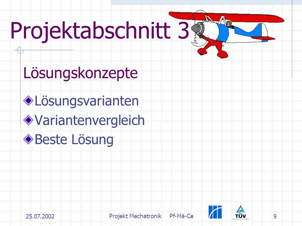 25.07.2002 Projekt MechatronikPf-Mä-Ce 9 Projektabschnitt 3 Lösungsvarianten Variantenvergleich Beste Lösung Lösungskonzepte
