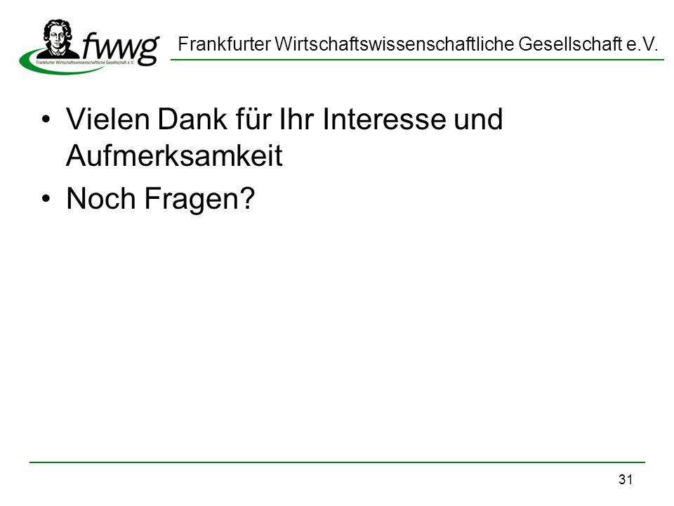 Frankfurter Wirtschaftswissenschaftliche Gesellschaft e.V. 31 Vielen Dank für Ihr Interesse und Aufmerksamkeit Noch Fragen?