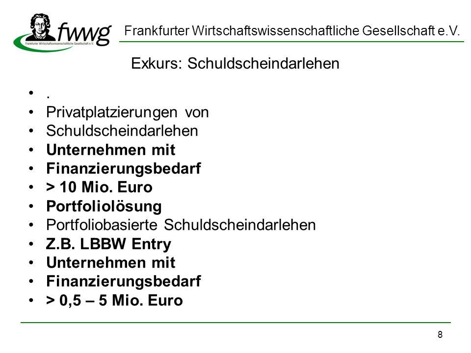 Frankfurter Wirtschaftswissenschaftliche Gesellschaft e.V. 8 Exkurs: Schuldscheindarlehen. Privatplatzierungen von Schuldscheindarlehen Unternehmen mi