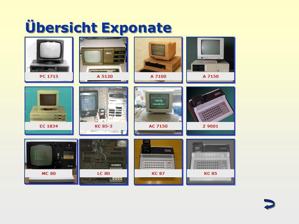 Übersicht Exponate P PC 1715A 5120A 7100 EC 1834KC 85-3 A 7150 AC 7150Z 9001 MC 80LC 80KC 87KC 85
