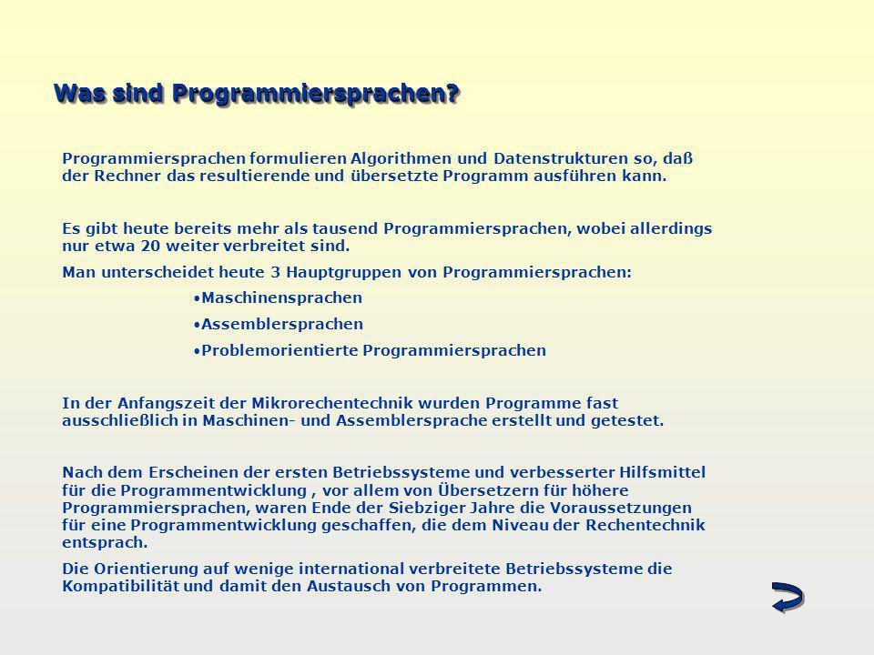 Was sind Programmiersprachen? Programmiersprachen formulieren Algorithmen und Datenstrukturen so, daß der Rechner das resultierende und übersetzte Pro